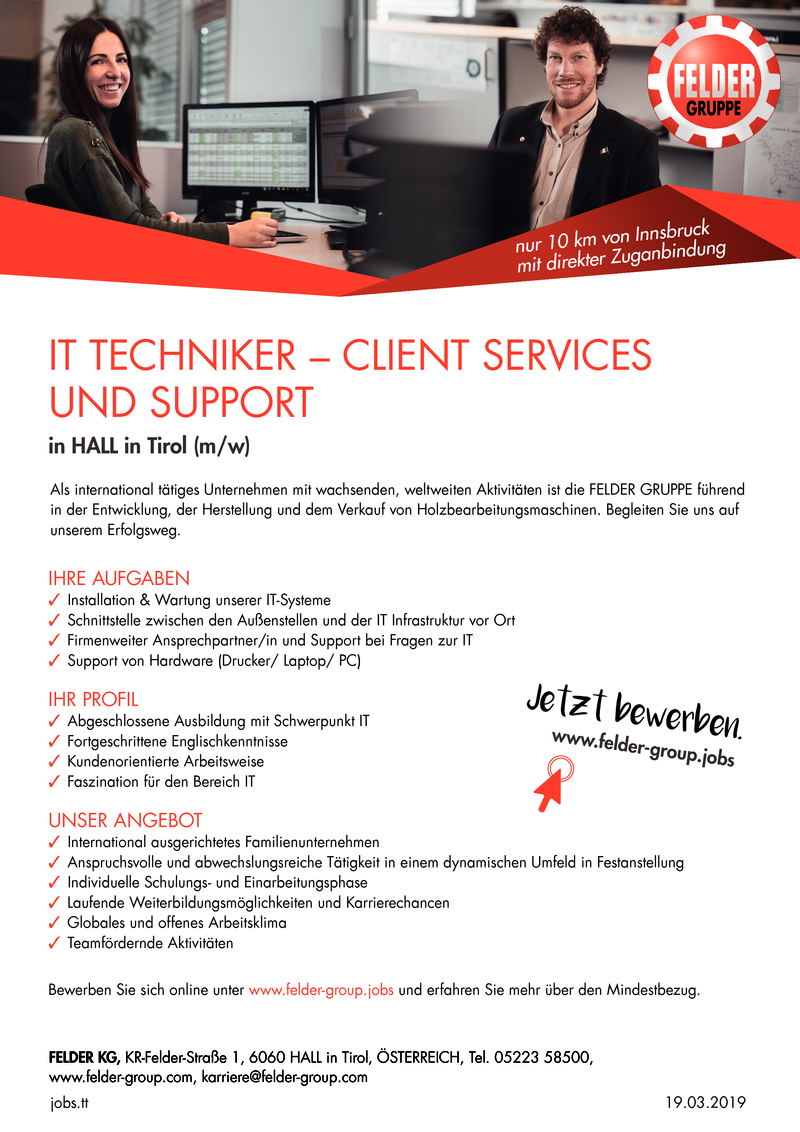 IT TECHNIKER - CLIENT SERVICES UND SUPPORT in HALL in TIROl (m/w)
