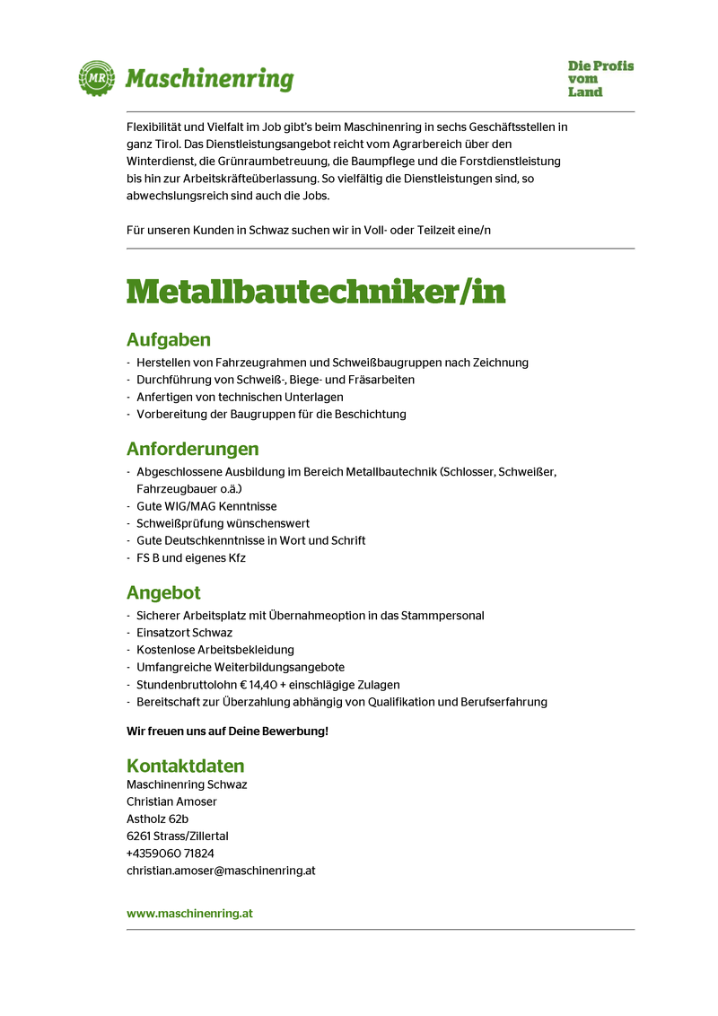 Metallbautechniker/in