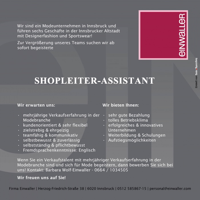 SHOPLEITER - ASSISTANT (m/w)