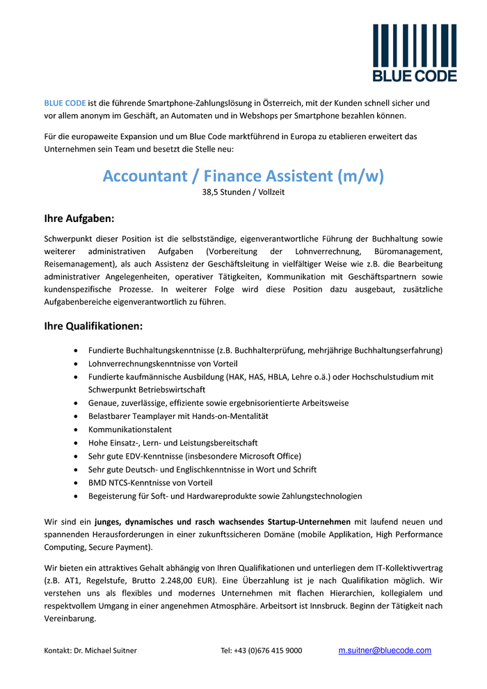 Accountant / Finance Assistent (m/w)