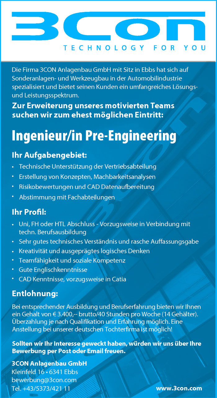 Ingenieur/in Pre-Engineering