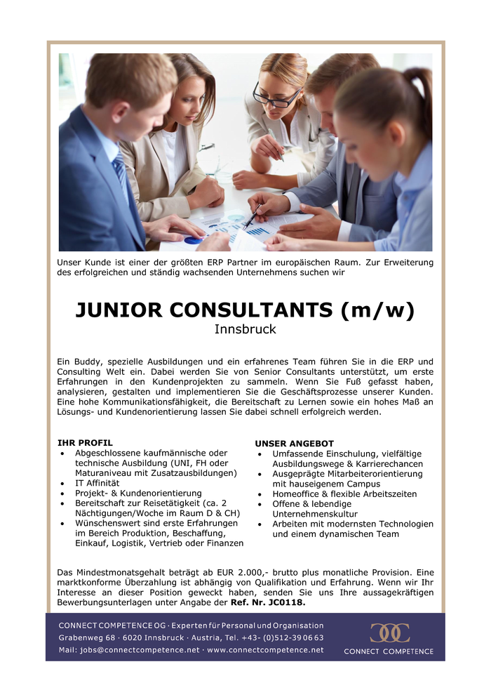 JUNIOR CONSULTANTS (m/w) Innsbruck