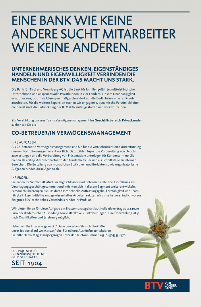 CO-BETREUER/IN VERMÖGENSMANAGEMENT