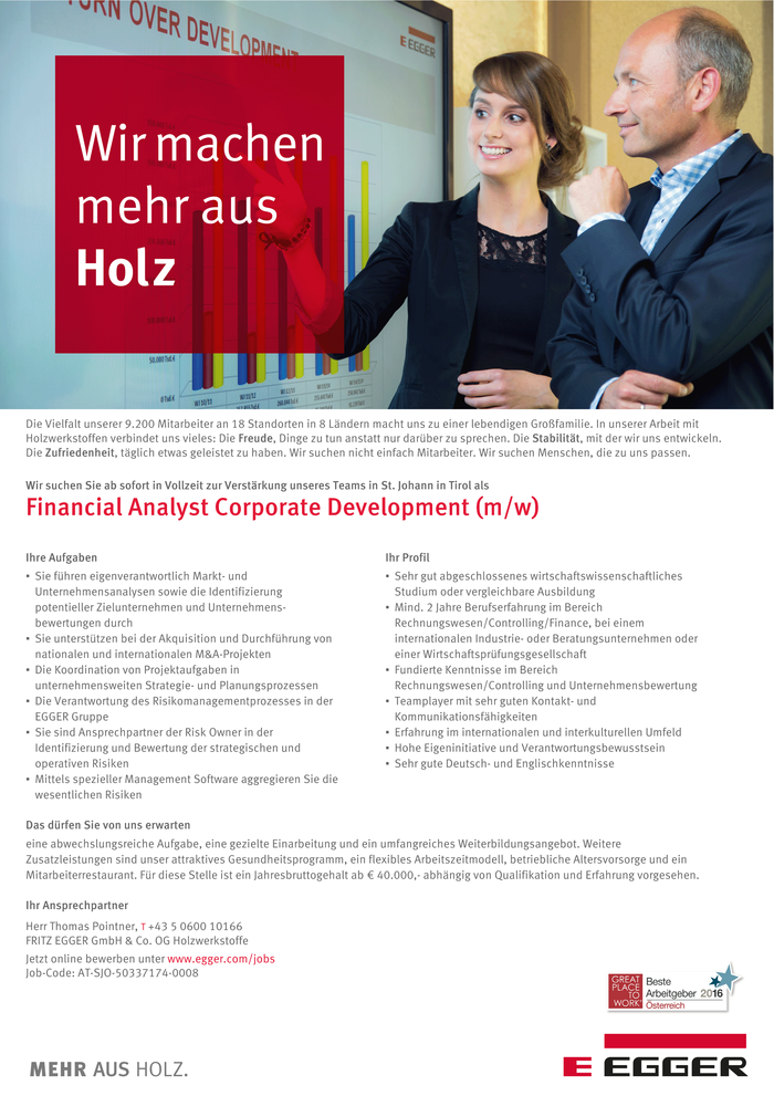 Financial Analyst Corporate Development (m/w)