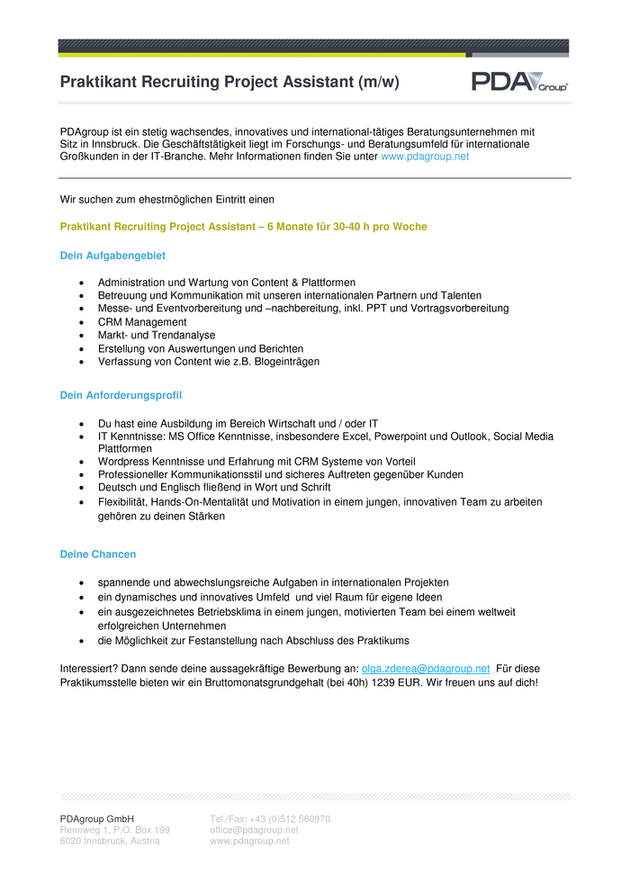 Praktikant Recruiting Project Assistant (m/w)