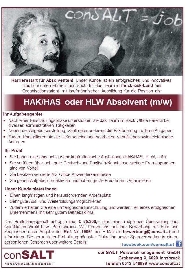 HAK/HAS oder HLW Absolvent (m/w)