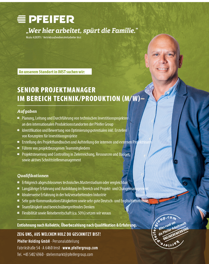 Senior Projektmanager im Bereich Technik/Produktion (m/w)