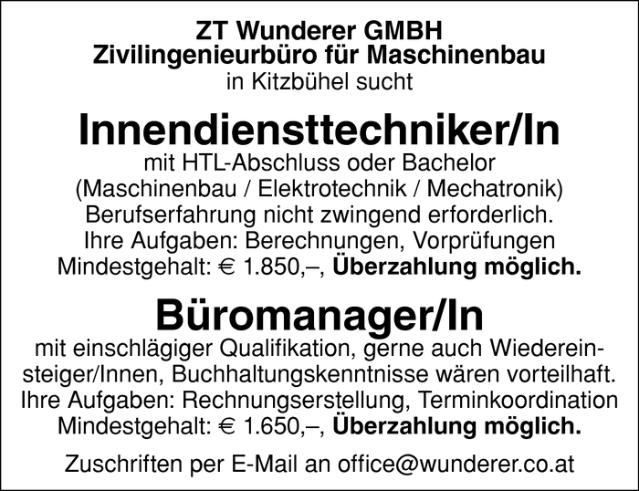 Innendiensttechniker/In und Büromanager/In