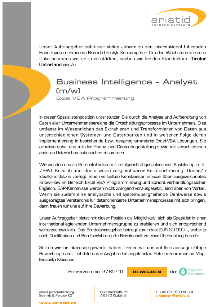 Business Intelligence - Analyst (m/w)
