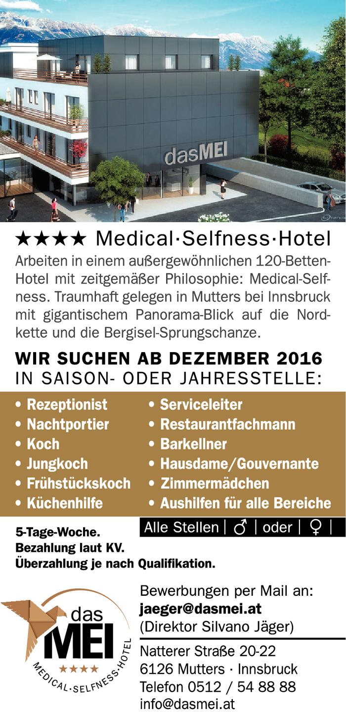 **** Medical·Selfness·Hotel sucht!