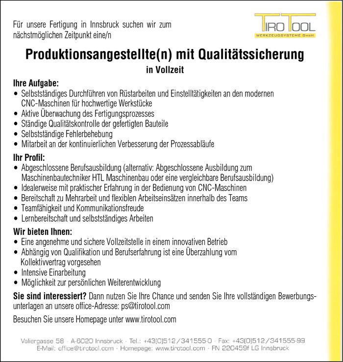 Produktionsangestellte(n) mit Qualitätssicherung im Bezirk Innsbruck ...