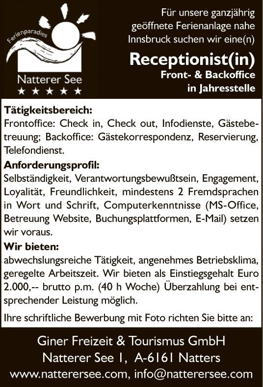 Receptionist(in) Front- & Backoffice in Jahresstelle