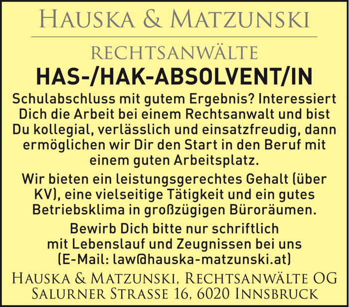 HAS-/HAK-ABSOLVENT/IN