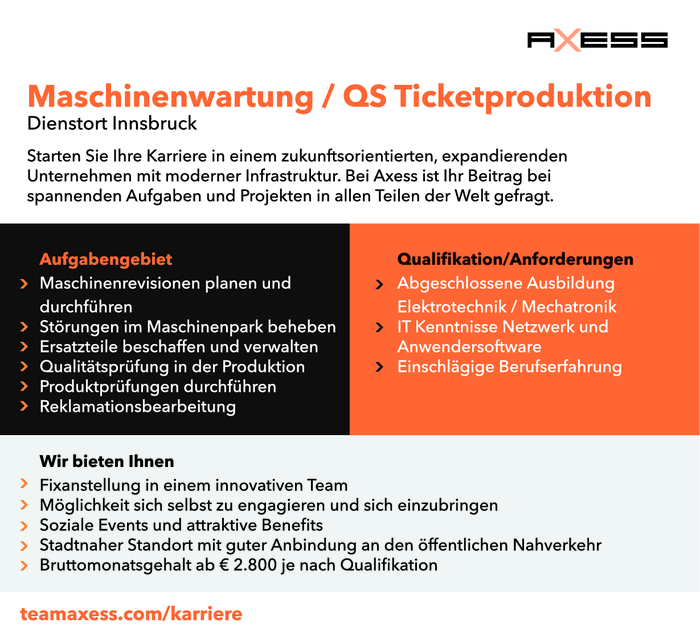 Maschinenwartung / QS Ticketproduktion