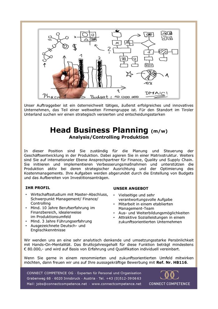Head Business Planning (m/w)  Analysis/Controlling Produktion