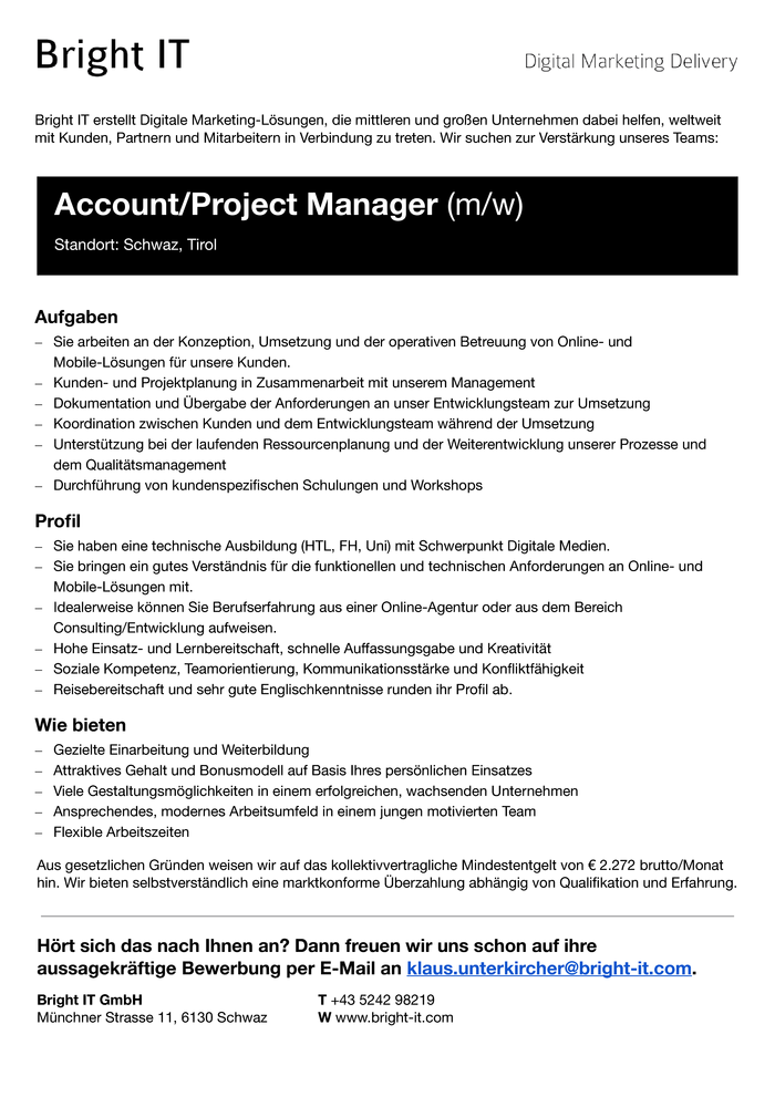 Account-/Projektmanager (m/w)