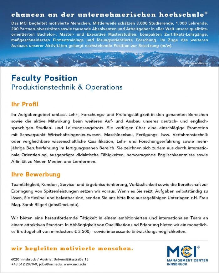 Faculty Position - Produktionstechnik & Operations