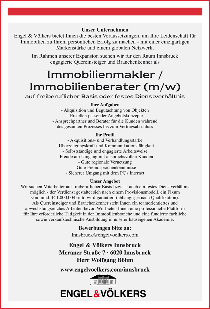 Immobilienmakler / Immobilienberater (m/w)