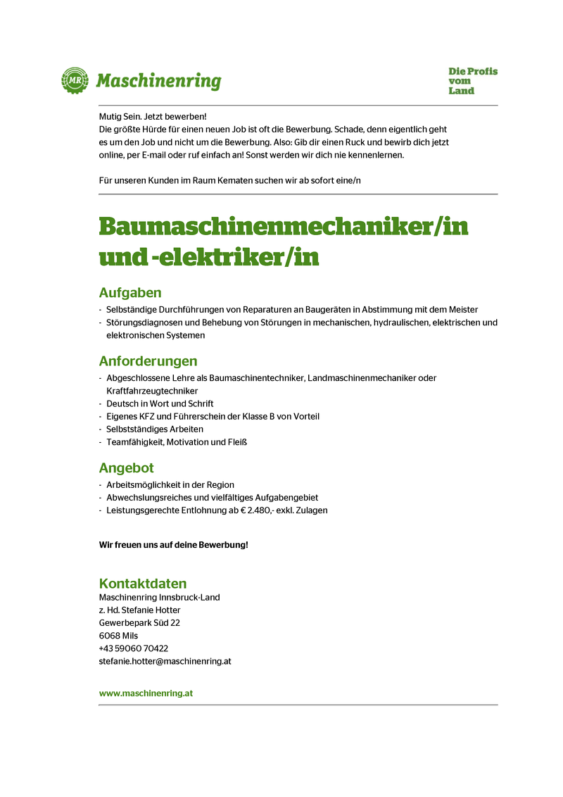 Baumaschinenmechaniker/in und -elektriker/in