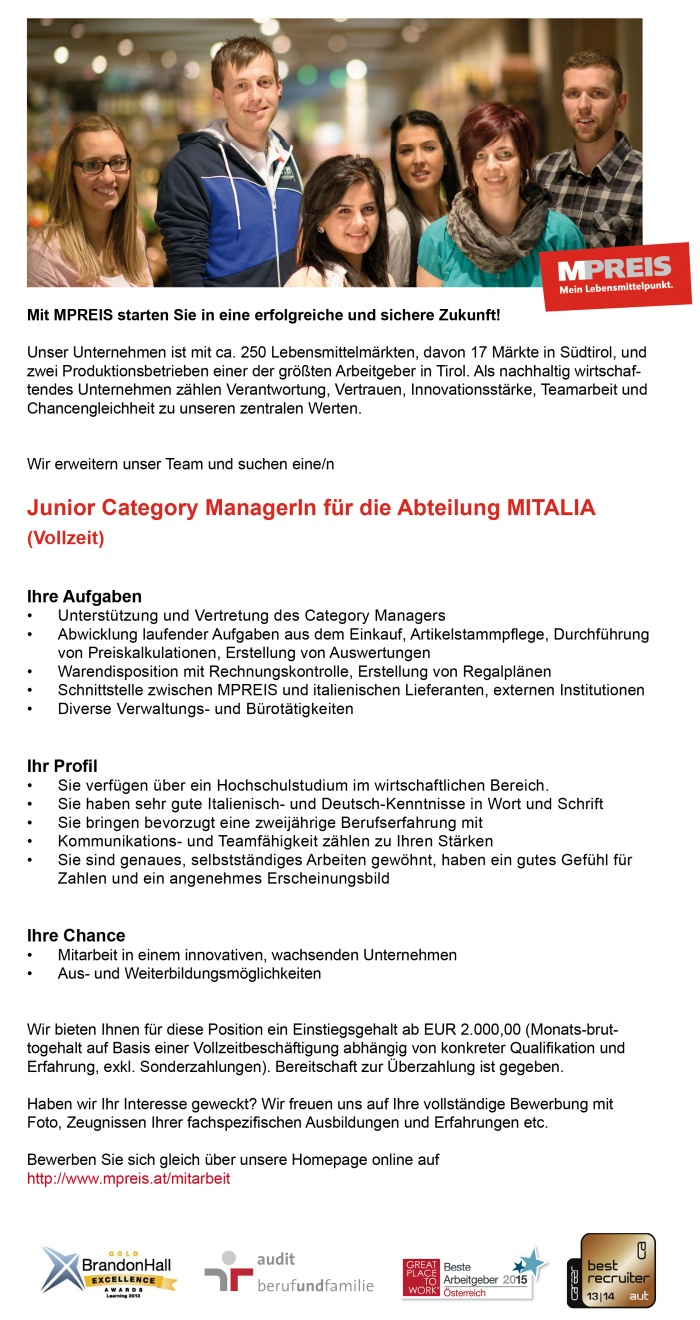 Junior Category ManagerIn für die Abteilung MITALIA