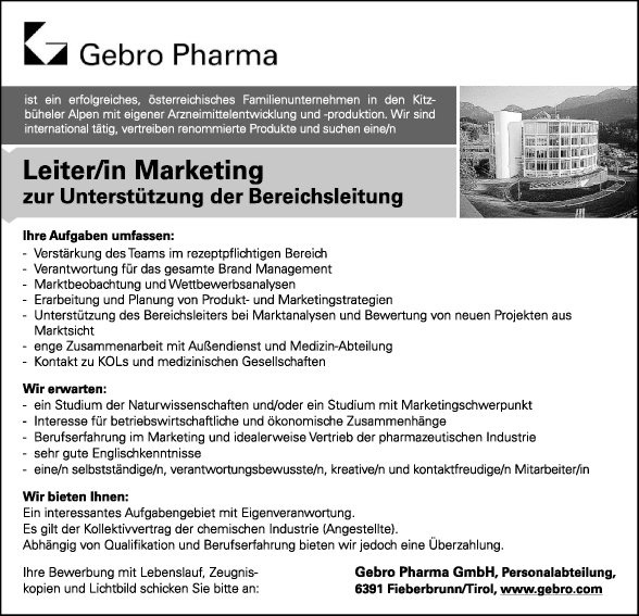 Leiter/in Marketing