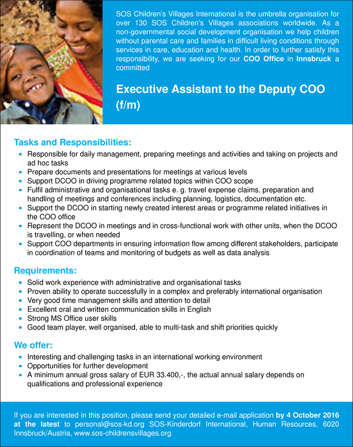 Executive Assistant to the Deputy COO (f/m)