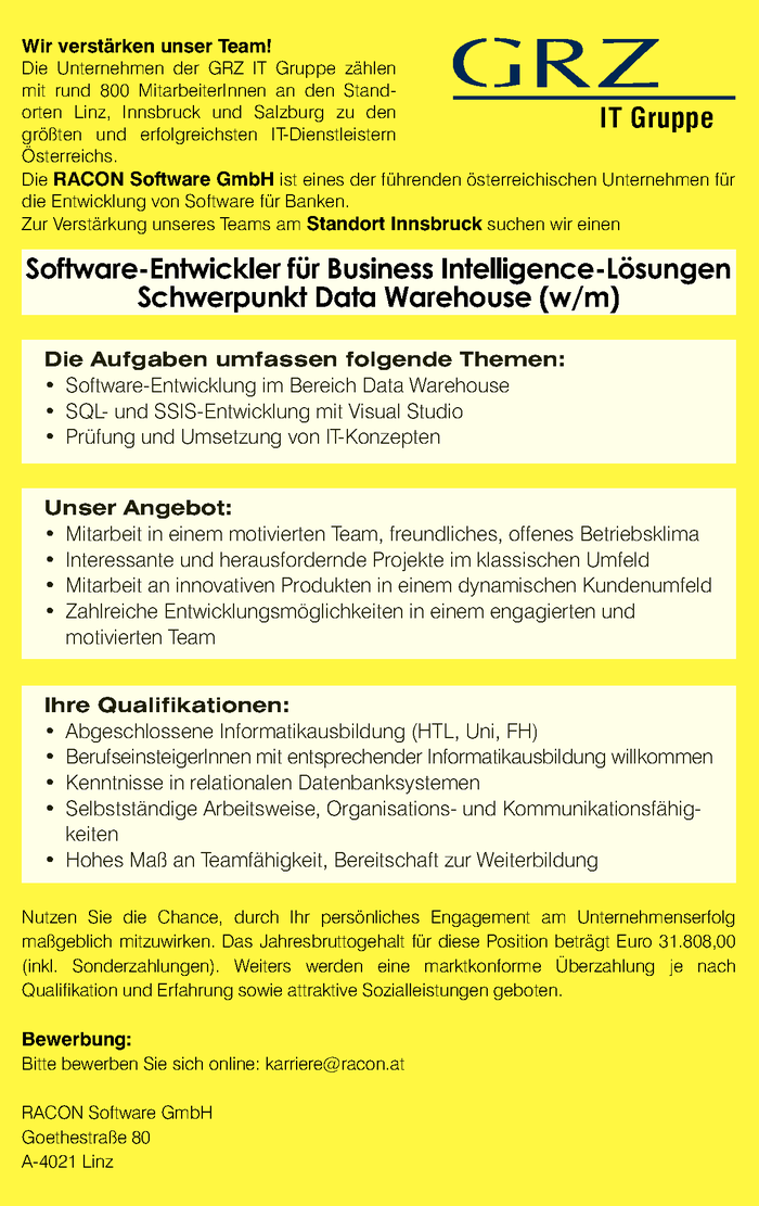 Software Entwickler für Business Intelligence-Lösungen Schwerpunkt Data Warehouse (w/m)