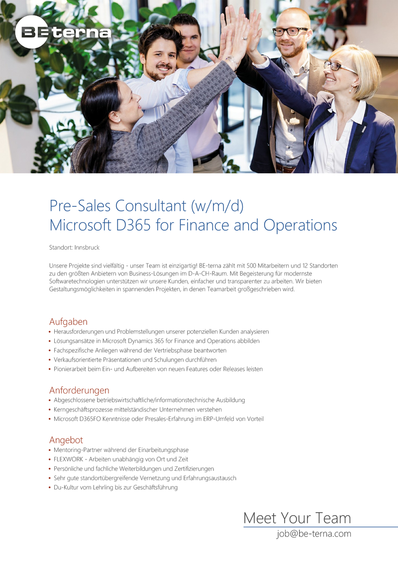 Pre‐Sales Consultant (w/m/d), Microsoft D365 for Finance and Operations