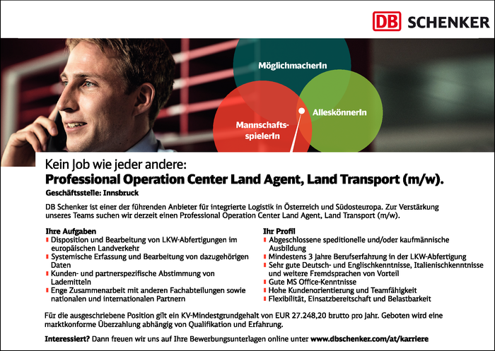 Professional Operation Center Land Agent, Land Transport (m/w)