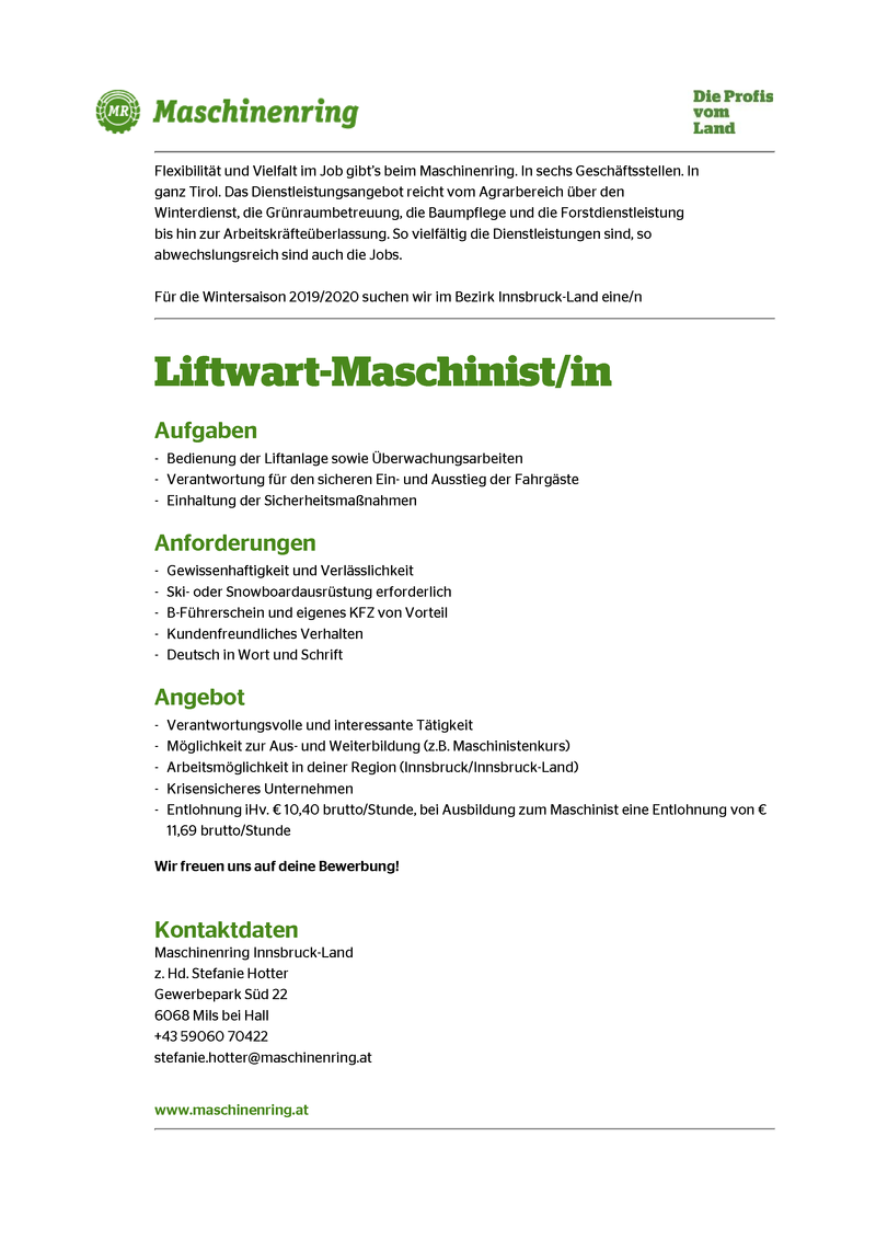 Liftwart-Maschinist/in
