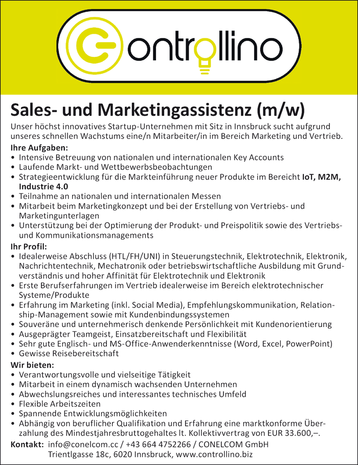 Sales- und Marketingassistenz (m/w)