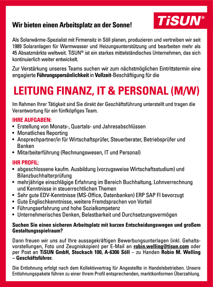Leitung Finanz, IT & Personal (m/w)