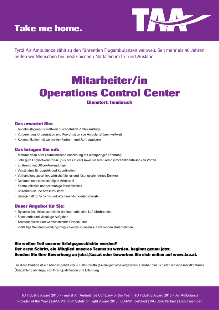 Mitarbeiter/in Operations Control Center