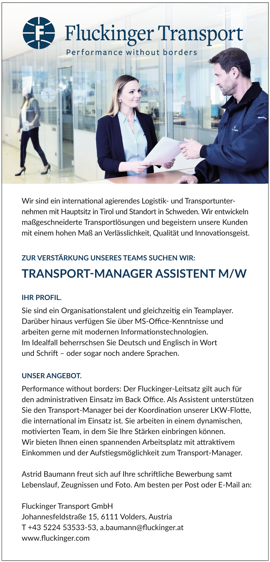 TRANSPORT-MANAGER ASSISTENT M/W