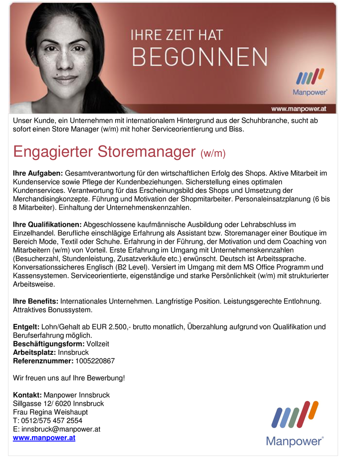 Engagierter Storemanager (w/m)