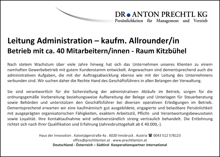 Leitung Administration – kaufm. Allrounder/in