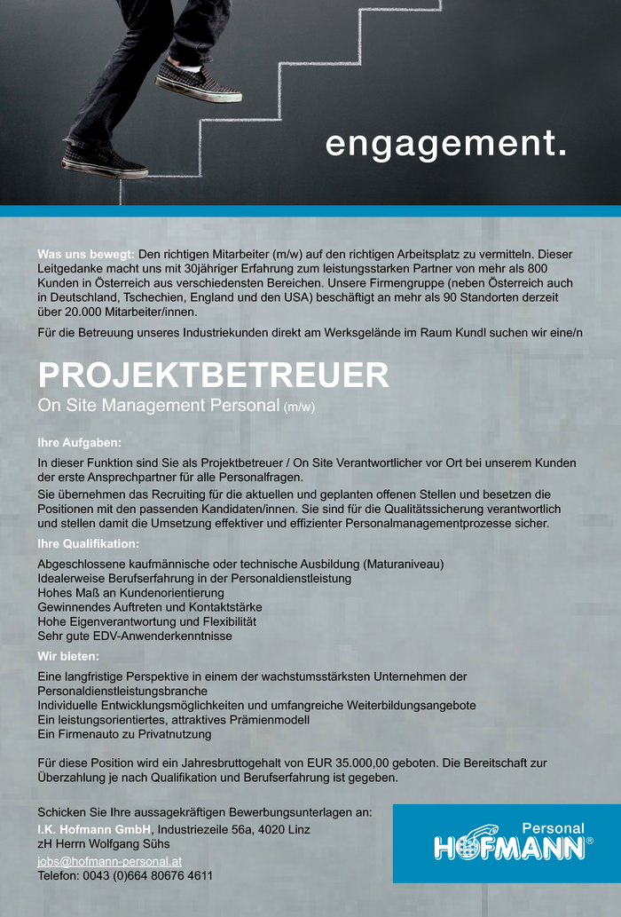 Projektbetreuer - On Site Management Personal (m/w)
