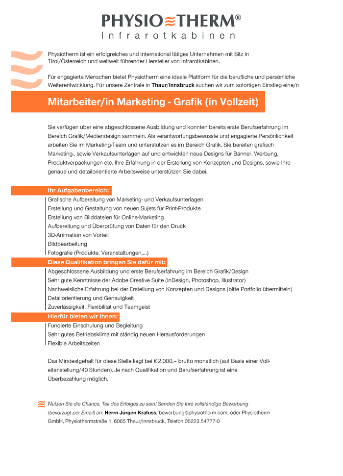 Mitarbeiter/in Marketing - Grafik (in Vollzeit)