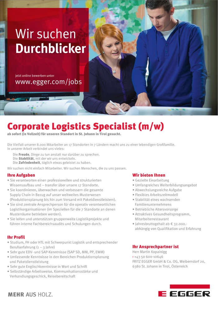 Corporate Logistics Specialist (m/w)