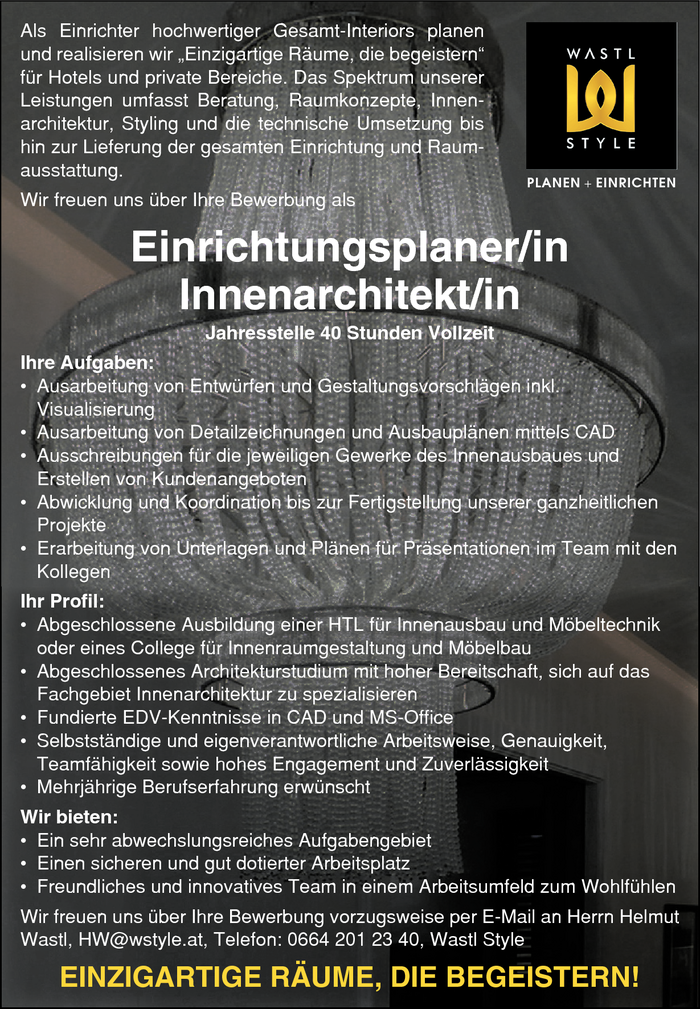 Einrichtungsplaner/in - Innenarchitekt/in