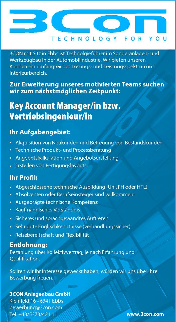 Key Account Manager/in bzw. Vertriebsingenieur/in