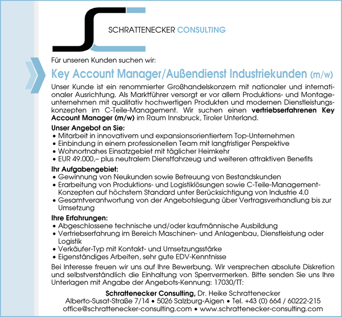 Key Account Manager/Außendienst Industriekunden (m/w)