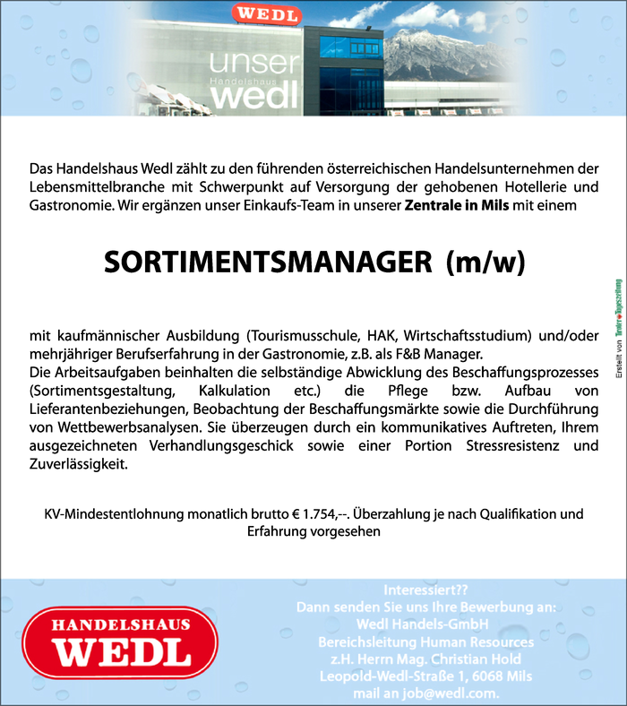 SORTIMENTSMANAGER  (m/w)