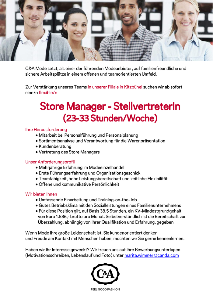 Store Manager - StellvertreterIn