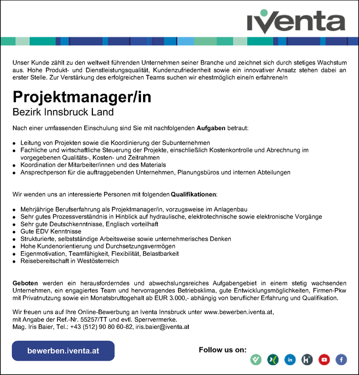 Projektmanager/in Bezirk Innsbruck Land