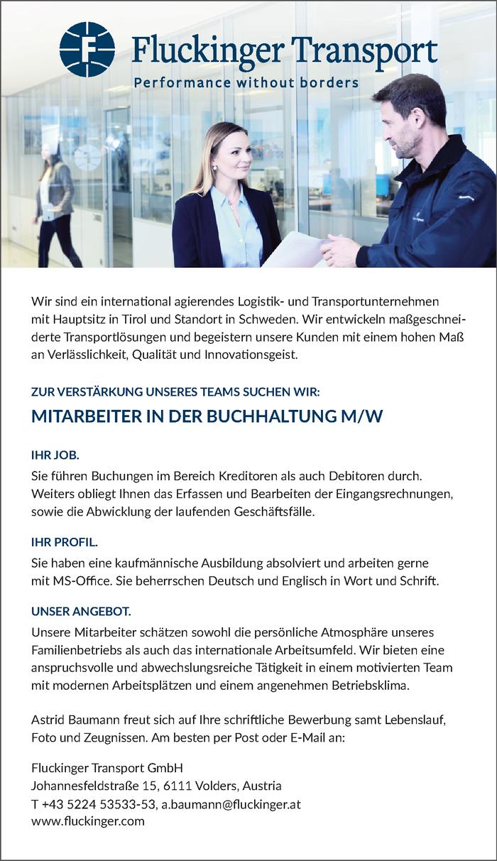MITARBEITER IN DER BUCHHALTUNG M W Im Bezirk Innsbruck Land Bewirb