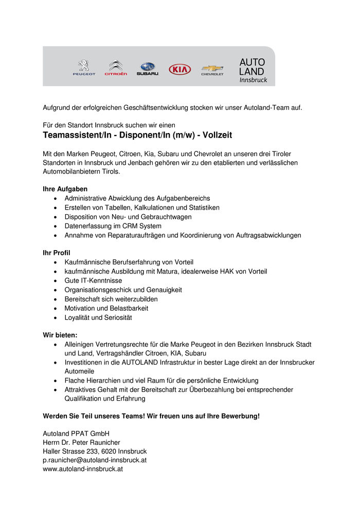 Teamassistent/In - Disponent/In (m/w) - Vollzeit
