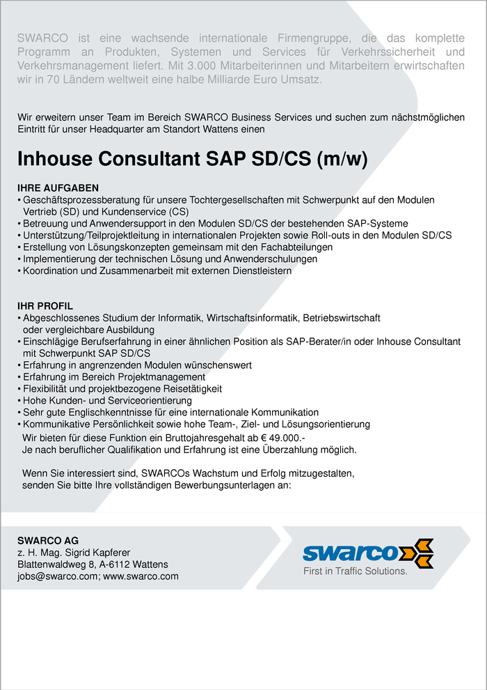 Inhouse Consultant SAP SD/CS (m/w)