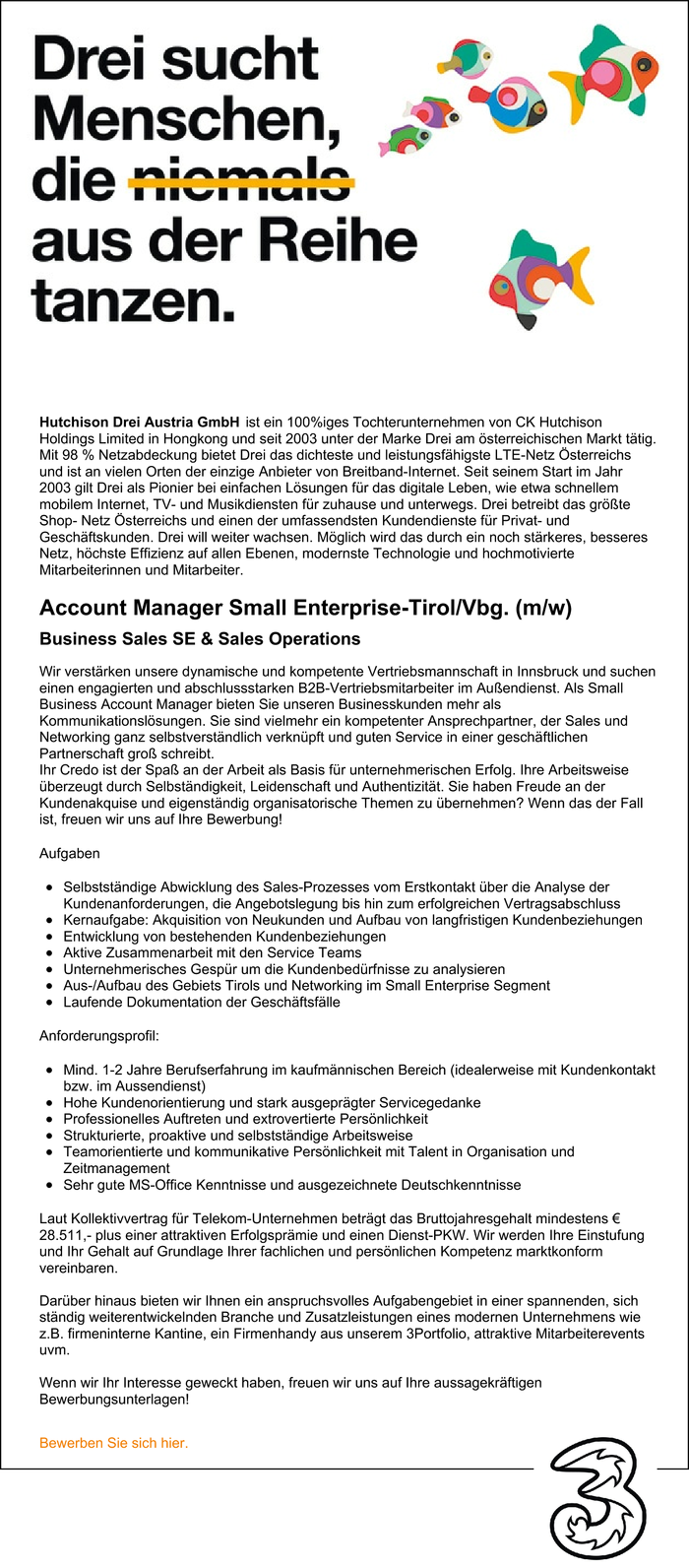 Account Manager Small Enterprise-Tirol/Vbg. (m/w)