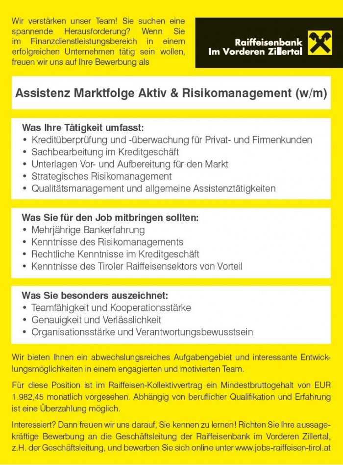 Assistenz Marktfolge Aktiv & Risikomanagement (w/m)